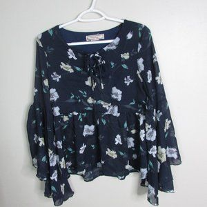 Flying Tomato Blouse S Blue Floral Bell Sleeve